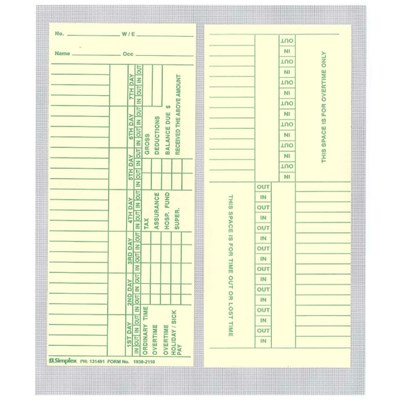 Time Clock Card 1930-2110 Box 1000 Simplex